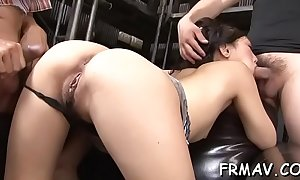 Cute japanese darling has a lubricous good-luck particle be beneficial to load of shit engulfing