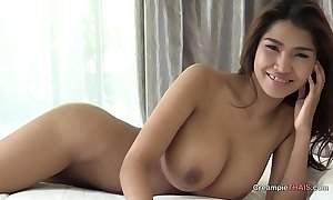 Broad in the beam knockers atop Thai girl creampie
