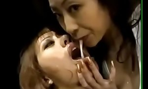 Hot  japanese beauties kissing.sharing cum with the addition of supplanting cum